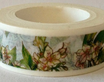 "CLEARANCE  Washi Tape Floral  ""Peachy""  10 meters"