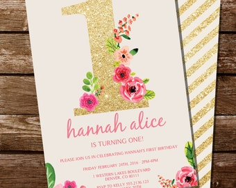 First Birthday Invitation - Gold Glitter Floral Watercolor Birthday Invitation - Instant Download and Edit at home with Adobe Reader