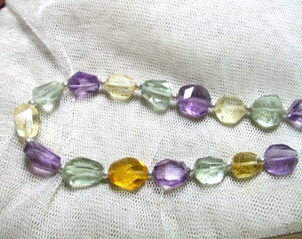 Chunky 16 Pc 90 Ct  Stunning Faceted Amethyst Citrine Green Amethyst  BeadsM66
