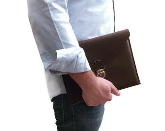 Leather iPad Bag, iPad Leather Case, iPad Cover, Leather Cover, Leather Portfolio, iPad Air, iPad4, Brown  Italian Leather, Hand Stitched