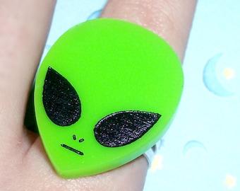 Neon Green Acrylic 90s Alien Ring