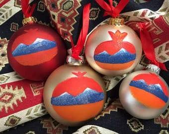 Hand painted large Armenian pomegranate Ornament ornament