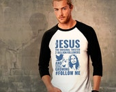 Jesus, Raglan Baseball Jersey, Unique Design, Unisex Adults, Vintage Look Slogan Tshirt, Humour, Inspirational, Bible, Retro,Spiritual