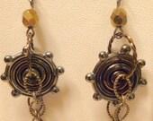 Clock gears of lampwork gun metal iridescent beads and clock parts earrings