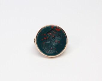 Victorian 10k Rose Gold Bloodstone Intaglio Ring