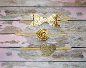 Gold Skinny Elastic Headband Set/Infant, Toddler, Girls Skinny Headband Set of 3/Gold Glitter Bow, Rose and Heart Headband Set of 3