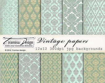 SALE Scrapbook Vintage Papers and Digital Paper Pack, sku-11