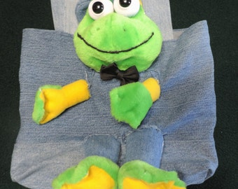 Frog/Toad Escapee.. Lined Tote Bag / Purse / Book Bag, Handmade from Recycled Upcycled Stuffed Animals and Blue Denim Jeans