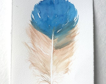 Blue feather painting, Watercolor painting original, Watercolor feather illustration, Feather wall art,  Bedroom, Kitchen, Home decor
