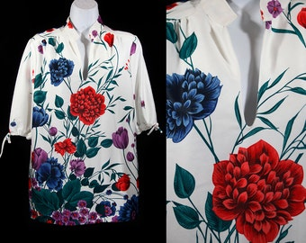 Vintage 70's LEO PALEY Floral Tunic Top Size 14