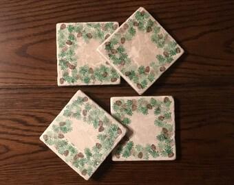 Pine Cone Tile Coasters (Light) ~ Set of 4
