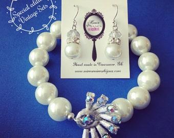 Fanfare reinvented vintage pearl bracelet and earring set - aurora borealis - vintage wedding - old Hollywood - glamour