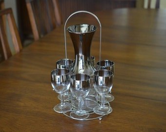 MCM Silver Fade Wine Decanter Glasses & Rack set Ombre Dorothy Thorpe Era