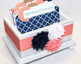 RECIPE BOX, Recipe Dividers, 4 x 6 Recipe Cards, Navy and Coral, White Shabby Chic Box, White Recipe Box, Quatrefoil, Chevron, Bridal Shower