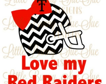 Texas Tech, Red Raiders, Football and Bows, SVG PNG DXF Cutting Machine File, Silhouette File, Cricut File, Tshirt Design