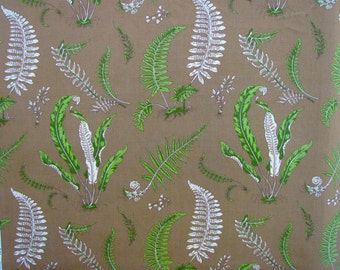 Scalamandre Linen Fabric   Elise de Wolf   Greens on Brown  Remnant