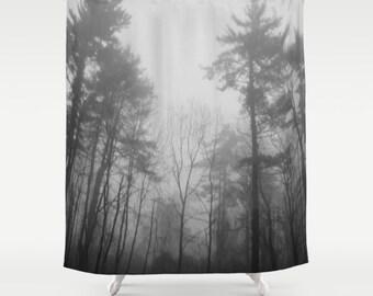 Black White Forest Fog Shower Curtain, Forest Curtain, Trees Shower Curtain,  Woodland Shower
