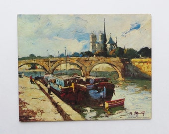 1960's Canal Scene Martin Lithograph by Winde Fine Prints No. 328 Size 8x10