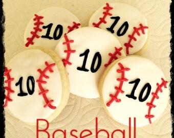 SALE-Baseball Sugar Cookie Favors-Baseball Birthday-Baseball party