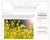 Blogger Template Premade Blog Design Theme - Megan Amelia - INSTANT DOWNLOAD - Responsive, Simple, Mint, Pink, Ribbon, Pastel, Teacher Blog