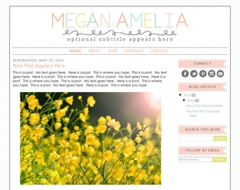 Blogger Template Premade Blog Design Theme - Megan Amelia - INSTALLATION INCLUDED - Colorful, Rainbow, Responsive, Pastel, Teacher Blog