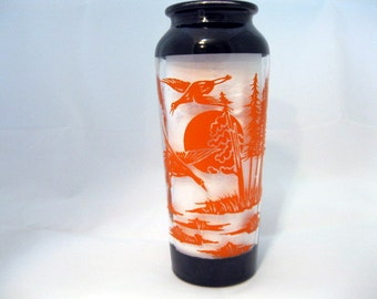 Black and Orange Glass Vase with Birds, Full Moon, and Trees