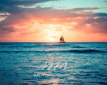 Sunset Photography, Ocean Prints, Sailboat Prints, Home Decor, Photography Gifts, Beach Wall Art, Hawaii Sunset, Interior Design, Sailing