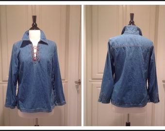 Vintage denim shirt / Ann Taylor denim blouse / 70's boho style top / womans size 6