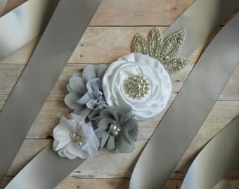 Wedding sash, Flower Girl Sash, Ribbon Sash, Bridal Sash, Wedding Shower Sash, Bridesmaid Sash, Bachelorette silver grey white