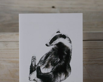 Blank Badger Greeting Card