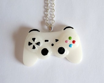 White Playstation Controller Necklace - Gamer Girl Nerdy Jewelry Geeky Jewelry Geeky Necklace Gamer Necklace Gamer Jewelry Nerdy Gift