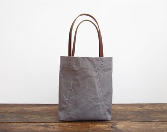 NEW!  Angular Tote in washed grey canvas and leather straps. For everyday use.