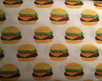 FLANNEL - Hamburger Fabric - Cheeseburger Fabric - Hamburger Flannel - Cheeseburger Flannel - Fast Food Fabric - Beef Patty Fabric
