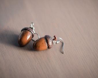 Acorns - Polymer Clay Dangle Earrings