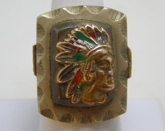 Vintage Antique Mexican Mexico American Indian Chief Biker Ring with Eagle Side Shields HUGE 42 Grams!