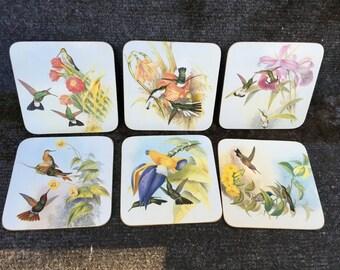Clover Leaf Cork Backed Coasters HUMMINGBIRDS Set of 6 from John Gould Lithographs 1987 Vintage