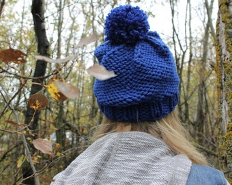 Pom Pom Slouchy Hat . Chunky Winter Knitted Hat . Wool Free  {  Cobalt Blue  }