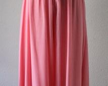 Vintage 1970s Elastic Waist Casual Pink Pastel Loose Wide Leg Culottes Style Silk Chiffon Pants