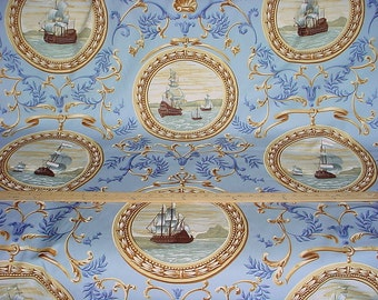 4 yards Lee Jofa I Galeoni in Shell - Clipper Ships / Nautical / Cameo Luxury Cotton Hand Print Drapery Upholstery Fabric - Free Shipping