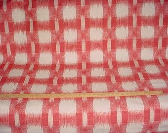 1-3/4 yards Beautiful F Schumacher / Williamsburg 1197037 Raleigh Ikat Plaid in Poppy - Luxury Printed Upholstery Fabric - Free Shipping