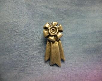 Tiny Rosette, Pin, Winners Ribbon, Gold Plated, Lead Free, Nickel Free, Handmade,