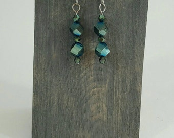 Emerald Green Drop Earrings - Dangle & Drop Earrings - Gift for Her - Beaded Earrings - Wire Wrap Earrings - Shimmer Gifts