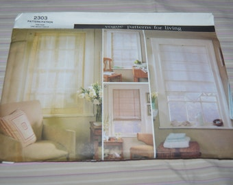 """Vogue 2303 """"Patterns for Living"""" Sheer Shades Sewing Pattern - UNCUT"""