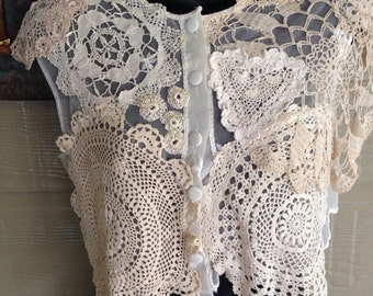 Vintage lace dainty jacket/bolero  Upcycled, using doilies from 1950-60's  Size S 8-12 Stunning piece