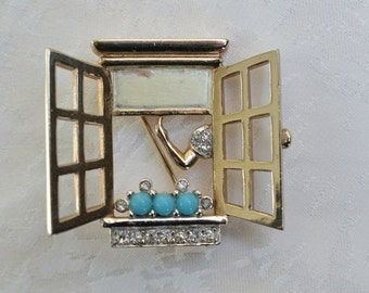 Vintage Brooch Pin Girl in the Window  Girl Opening or Closing the Window by  Marcel Boucher 1950s