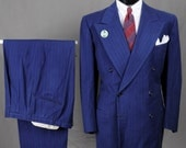 30s 40s Royal Blue DB Pinstripe Suit - Red & White Pinstripes - Large Size