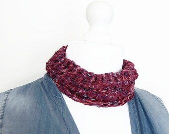 Raspberry necklace scarf, yarn necklace, ribbon yarn scarf, decorative scarf, scarf necklace, knit cowl, cotton knit cowl, knitted necklace