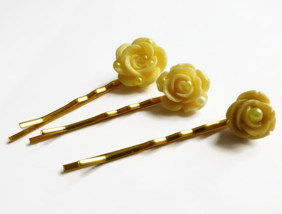 Flower decorative bobby pins flower barrettes flower hair - Decorative hair slides ...