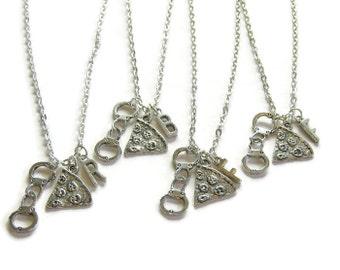 4 Pizza Handcuff Partner In Crime Initial Best Friends Necklaces, 4 Best Friends, 4 Best Friends Necklaces, 4 BFF Necklaces, Pizza Necklaces