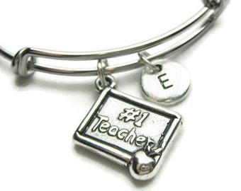 Teacher Bangle, Teacher Bracelet, #1 Teacher Bracelet,  Personalized Bracelet, Adjustable Bracelet, Initial Bracelet, Monogram